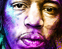 Purple Haze (Jimmy Hendrix portrait)