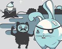 Character Design: Bubble bunnies, hornies, & poachers.