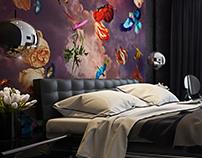 Спальня с птицами