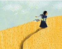 Ilustraciones para libro Niña del Canto Violeta