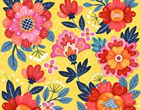 Bohemian Floral Illustration Pattern