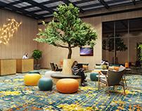 CG Interior Design Render. A Colorful Hotel Lobby