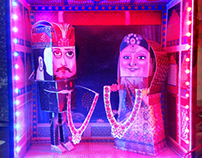 INDIAN WEDDING:HANDMADE PAPER TOY IN SHADOW BOX