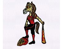 BASEBALL PLAYING FEMALE HORSE EMBROIDERY DESIGN