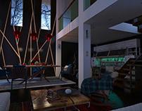 garnet (Winter, интерьер, house, Fireplace, loft, room)