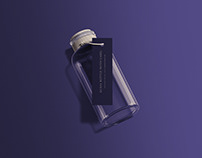 Glass Bottle with Tag Mockup