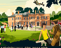 Woodhall Spa Manor vintage style travel poster