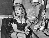 Burlesque Commedienne in her dressing room
