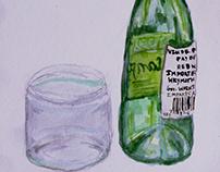 watercolor glass bottles