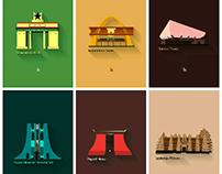 some illustrated popular landmarks in Ghana