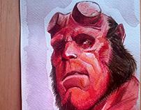 Hellboy watercolors painting