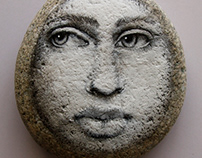Moon Face on stone