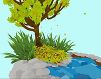VR Small fountain in autumn