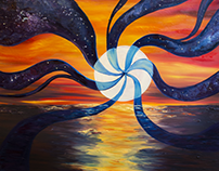 Galaxy Sunset Oil on Canvas 4'X4' by Lauren Ladner