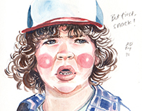 Stranger Things Watercolor Portraits
