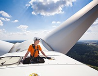 High up on a turbine