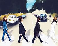 Illustration 'The Beatles Plus One Man'