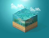 Isometric: Ocean Water Cube