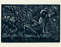 Hybrid Animal linocut