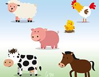Ilustraciones Vectoriales de Animales de Granja