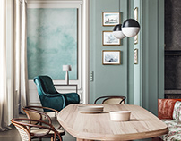 Visualization work.Eclectic interior