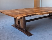 Live Edge Conference Table in Texas Pecan & Walnut
