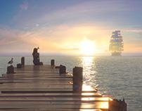 Sea sunset (lighting test)