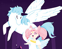 Sailor Moon fan art: Chibiusa & Pegasus