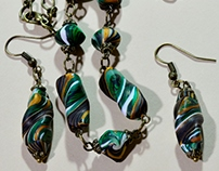 Jade green, black, gold, polymer clay