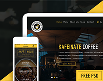 KAFEINATE - Free Coffeeshop Logo, One Page, UI Designs