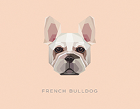 Geometric dogs vector illustrations