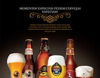 Anúncio e jogo americano de cervejas especiais