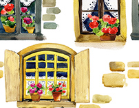 Watercolor illustration of vintage window with flowers.