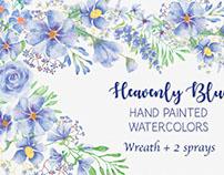 'Heavenly Blue': watercolor wreath plus 2 sprays