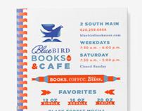 Blue Bird Books Menu Design