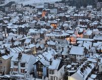 Snowfall. Hastings, East Sussex, UK