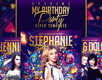 Special My Birthday Party Flyer Template