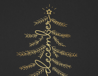 Golden christmas postcards