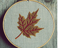 BROWN AND RED MAPLE LEAF EMBROIDERY DESIGN