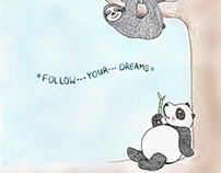 Panda and Sloth Illustration