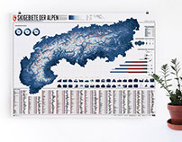 Map of the Alps with 633 ski resorts