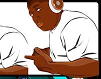 Ilustração Vetorial, Flyer, DJ Preto