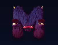 Typographic hairy monsters