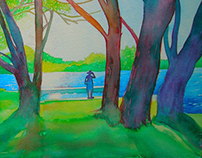 North woods Wisconsin Watercolor painting.