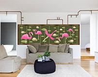 Роспись стены«Фламинго» |Wall painting