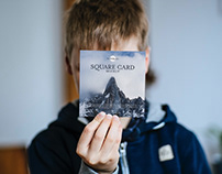 Free Little Boy Showing Square Card Mockup PSD