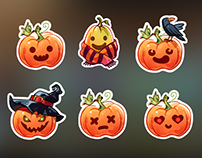 Two Pumpkin Heads -  Stickers Pack