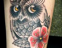 Owl Flower Tattoo