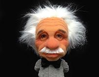 Sculpture of Albert Einstein in sponge foam