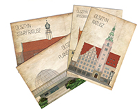Illustration set for postcards and gifts